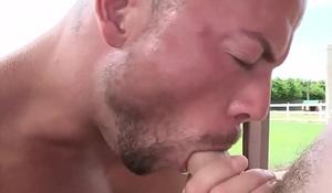 Bald muscular stud plows pulled jock till cum