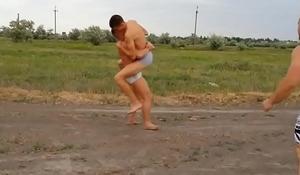 roadside nude wrestling in public
