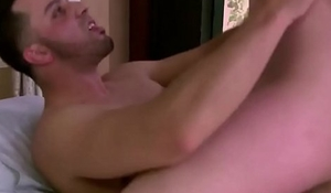Blonde tranny with super tits humping intensely handsome big cock partner