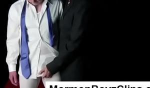 Mature gay Mormon Elder strips cute boy in ritual underwear