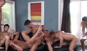 Muscular athletes enjoying naughty orgy