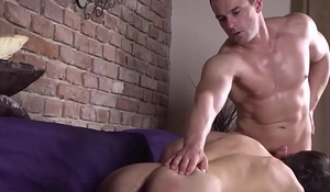 Bare fucked twink jerksoff after blowing cock