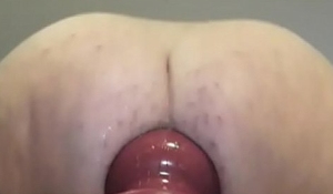 riding huge red toy in ripped panties