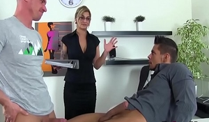 Sexy babe decides to get fucked by two gay dudes in office