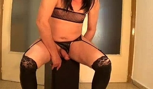 sissy vicky pisses and cums then consumes it