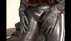 Leather pants and mink