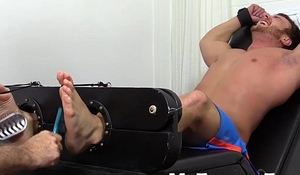 Big dick and muscular Frey getting feet tickle by his friend