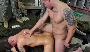 Oversexed military guys are having a blithe interracial be hung up on orgy