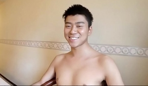 Japanese twink cums pov
