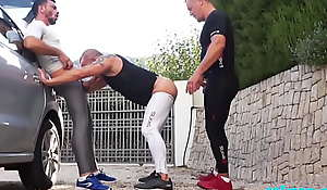 neighbour with massive blarney comes for a spandex 3way