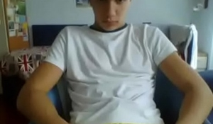 Hot soccer teen boy jerking on cam
